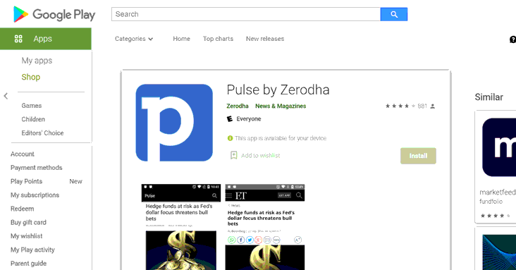 pulse by zerodha android app